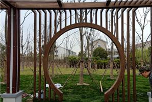 南通钢构花架仿木纹漆施工项目