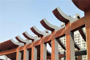 铝板廊架凉亭仿木纹漆效果