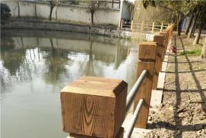 上海嘉定混凝土护栏仿木纹漆施工项目