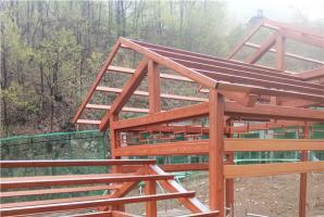 洛阳景区钢管廊架仿木纹漆施工项目效果