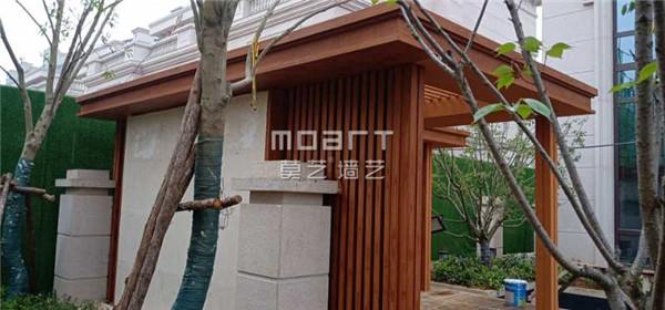 海南湖北孝感钢构廊架木纹漆施工