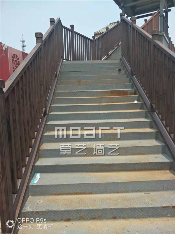 安庆河北栗色钢构凉亭护栏木纹漆厂家