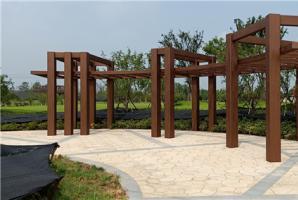 浙江嘉兴公园钢构廊架仿木纹施工