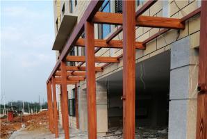 湖北武汉洪山区白沙洲住宅区钢构护栏仿木纹