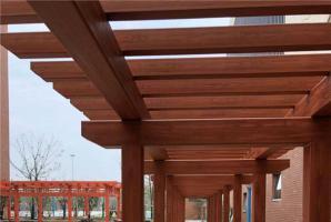 安徽合肥学校钢构廊架仿木纹