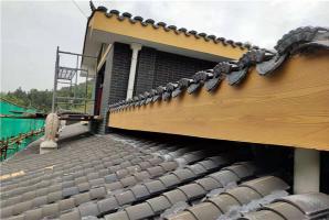 福(fu)建桂(gui)花新(xin)村屋(wu)檐(dan)外牆仿木紋漆施工案例展示